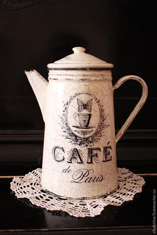 """Чайники, кофейники ручной работы. Ярмарка Мастеров - ручная работа. Купить Кофейник """"Винтажное утро"""" френч-винтаж. Handmade."""