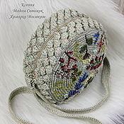 Сумки и аксессуары handmade. Livemaster - original item Crossbody bag: Round linen bag with embroidery Flowers. Handmade.