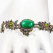 Украшения handmade. Livemaster - original item Author`s bracelet made of silver 925 with malachite, amethyst, peridot. Handmade.