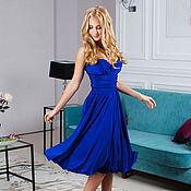 Одежда ручной работы. Ярмарка Мастеров - ручная работа Синее платье вечернее короткое, платье трансформер, платье подружки не. Handmade.