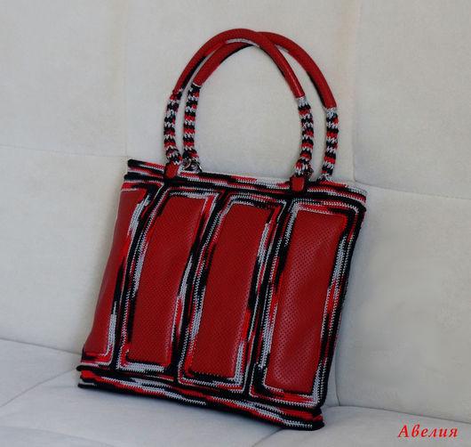 Женские сумки ручной работы. Ярмарка Мастеров - ручная работа. Купить Сумка Красное и черное. Handmade. Комбинированный, вязаная сумка