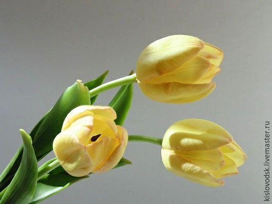 Цветы ручной работы. Ярмарка Мастеров - ручная работа. Купить Тюльпаны из полимерной глины. Ручная работа.. Handmade. Желтый