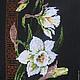 """Картины цветов ручной работы. Ярмарка Мастеров - ручная работа. Купить Вышитая картина-панно """"Нарциссы"""". Handmade. Белый, подарок"""