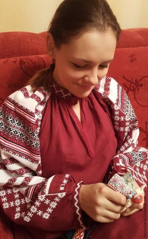 Одежда ручной работы. Ярмарка Мастеров - ручная работа. Купить Рубаха бардовая. Handmade. Русская рубаха, лён