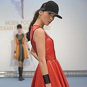 Одежда ручной работы. Ярмарка Мастеров - ручная работа Красное кожаное платье с черным кожаным кантом. Handmade.