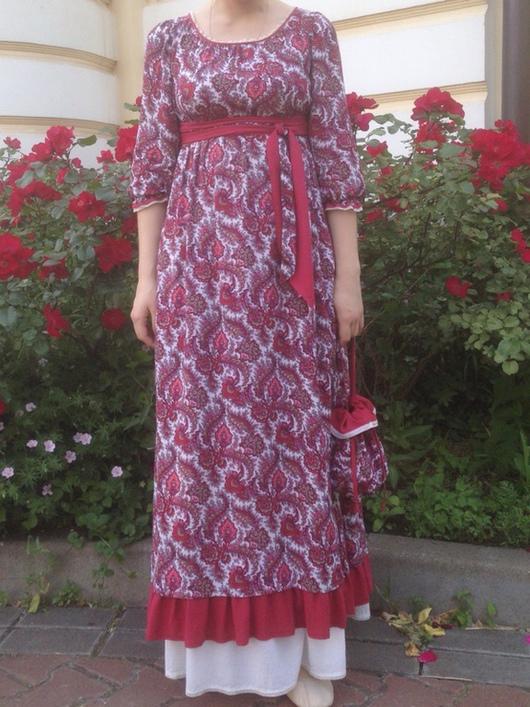 Платья ручной работы. Ярмарка Мастеров - ручная работа. Купить Платье-ампир из штапеля в красно-белых тонах.. Handmade. Ампир