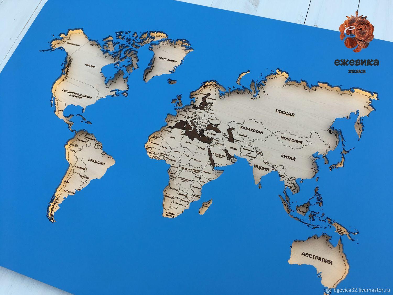 Карта мира с подсветкой, Декор, Брянск, Фото №1