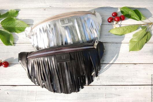 Женские сумки ручной работы. Ярмарка Мастеров - ручная работа. Купить Поясная сумка-банан с бахромой Kriss. Handmade. бахрома