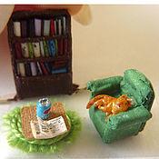 """Украшения ручной работы. Ярмарка Мастеров - ручная работа Кулон сфера с микроминиатюрой """"Уютная библиотека"""". Handmade."""