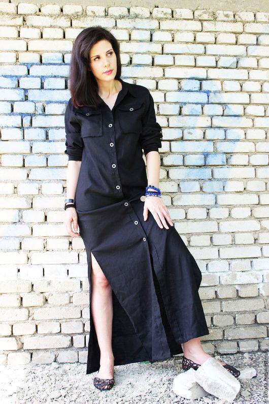 Платья ручной работы. Ярмарка Мастеров - ручная работа. Купить Длинное льняное платье  D0007. Handmade. Платье, длинное платье