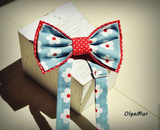 """Галстуки, бабочки ручной работы. Ярмарка Мастеров - ручная работа. Купить бабочка девочковая """"Красно-голубая в цветочек"""". Handmade. Разноцветный"""