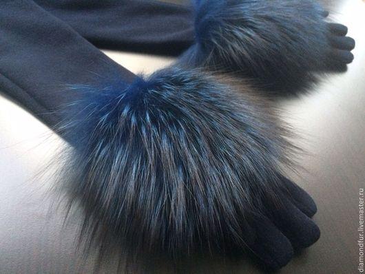 Варежки, митенки, перчатки ручной работы. Ярмарка Мастеров - ручная работа. Купить Перчатки удлиненные. Handmade. Тёмно-синий
