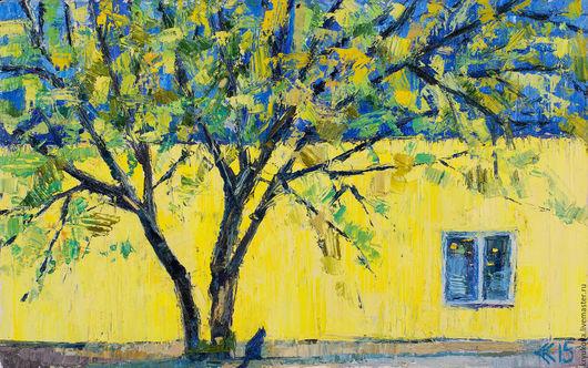 Картина пейзаж кот Желто-синее Картина с кошкой Яркая картина для интерьера Картина маслом пейзаж купить Город маслом