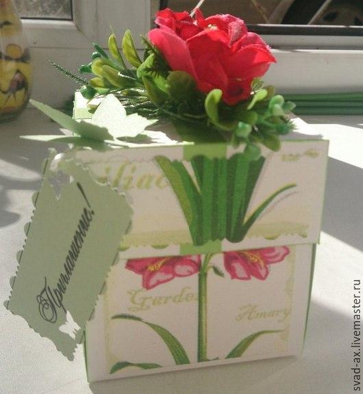 Свадебные открытки ручной работы. Ярмарка Мастеров - ручная работа. Купить Magic box  Пригласительные на свадьбу (коробочка). Handmade. Разноцветный