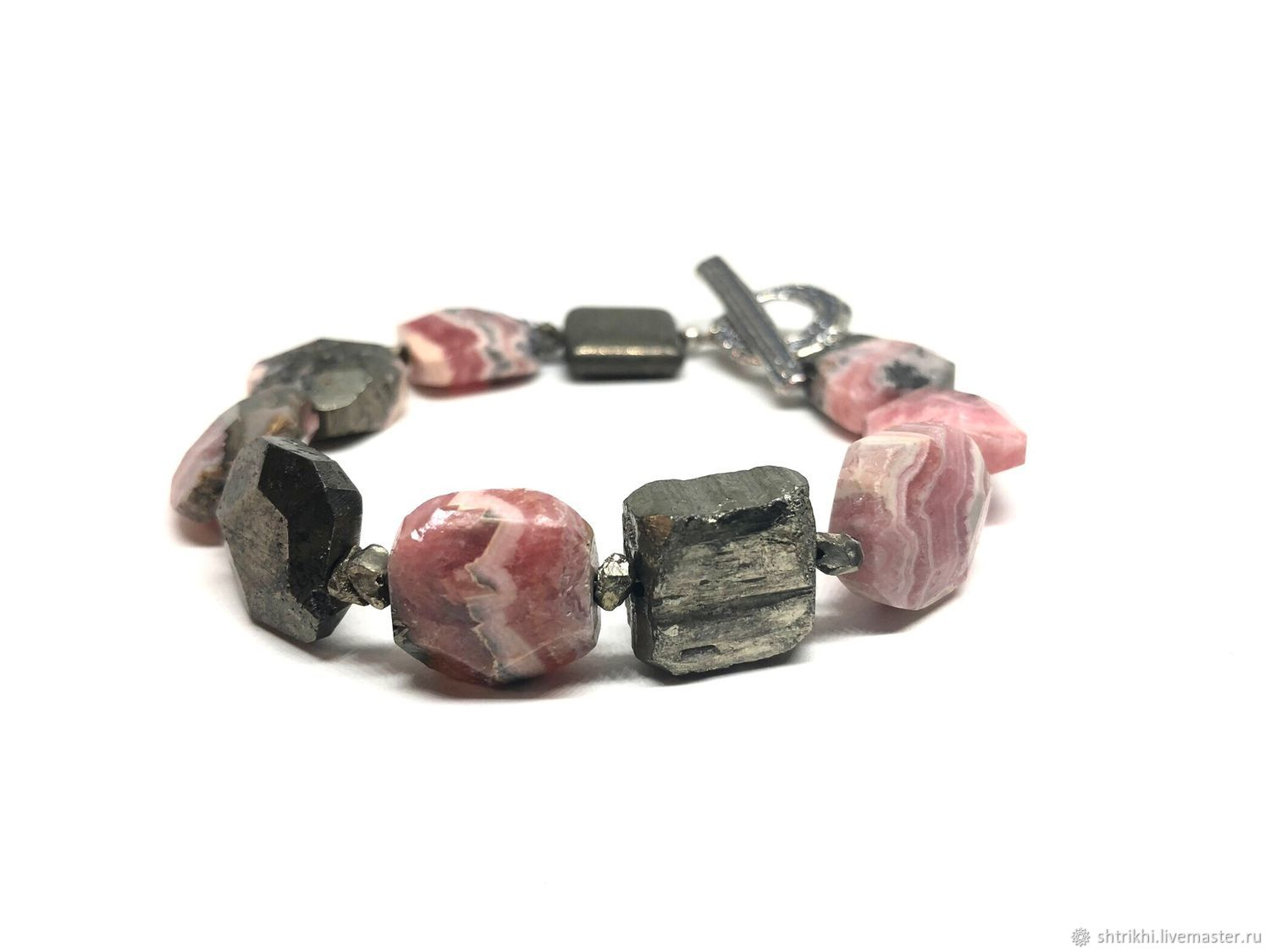 Rhodochrosite/Pyrite bracelet. Made of natural stones, the castle from Anna Chernykh, Bead bracelet, Moscow,  Фото №1