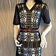 Черное ажурное коктейльное платье связано крючком из тонкого хлопка по мотивам Karen Millen