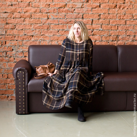 Платья ручной работы. Ярмарка Мастеров - ручная работа. Купить Платье из коричневой шерсти в клетку art.86b. Handmade. Коричневый