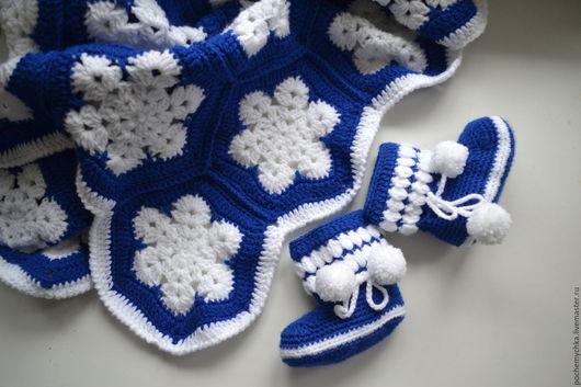 Пледы и одеяла ручной работы. Ярмарка Мастеров - ручная работа. Купить плед крючком для вашего малыша. Handmade. Синий, легкий