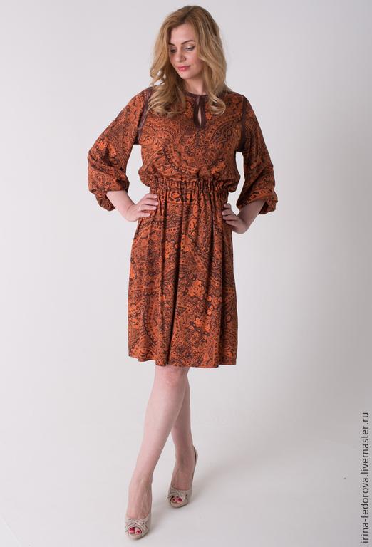 """Платья ручной работы. Ярмарка Мастеров - ручная работа. Купить Платье """"Сказочная осень"""" П-47. Handmade. Коричневый"""