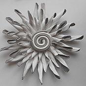 Украшения handmade. Livemaster - original item Brooch-flower of the skin