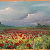 Картины и панно ручной работы. Ярмарка Мастеров - ручная работа Маковое поле. Handmade.