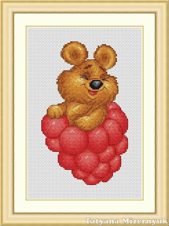 """Вышивка ручной работы. Ярмарка Мастеров - ручная работа. Купить Схема для вышивки крестиком """"Медвежонок с малиной"""". Handmade. Вышивка крестом"""