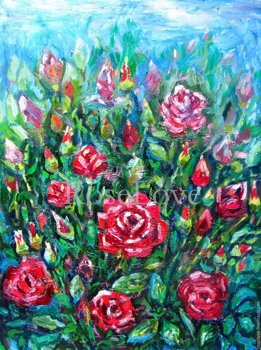 Картина `Розы` (Масло 30/40) Катерины Аксеновой. купить картину розы маслом на холсте в москве,розы картины маслом,картины розы маслом на холсте,букет роз картины маслом,картины маслом цветы,цветочна