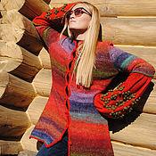 Одежда ручной работы. Ярмарка Мастеров - ручная работа вязаный кардинан красный кардиган кардиган на весну женский кардиган. Handmade.