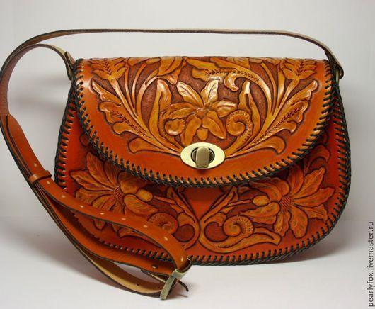 Кожаная сумка ручной работы с рисунком в стиле шеридан Лилии в саду