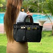 Сумки и аксессуары handmade. Livemaster - original item Python leather bag in black. Handmade.