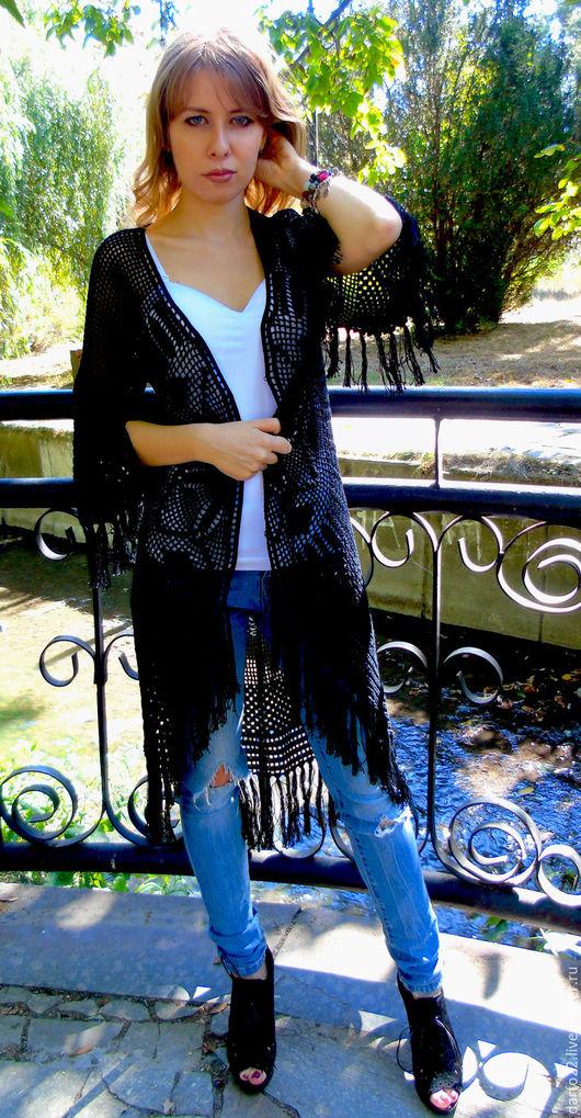 """Пиджаки, жакеты ручной работы. Ярмарка Мастеров - ручная работа. Купить Бохокардиган """"Мандала"""". Handmade. Черный, этно стиль"""