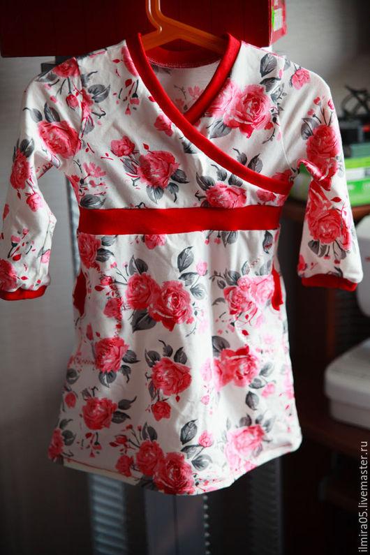 """Одежда для девочек, ручной работы. Ярмарка Мастеров - ручная работа. Купить Платье с длинным рукавом """"Красный бархат"""". Handmade. Коралловый"""