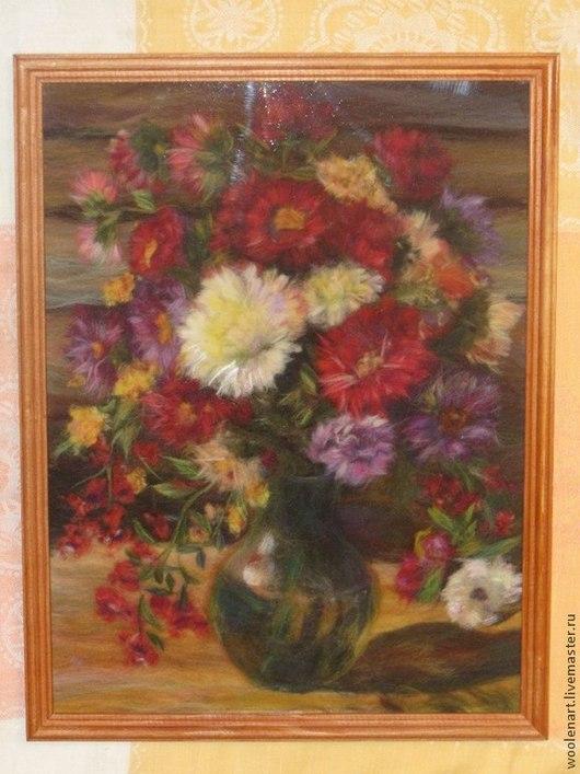 Картины цветов ручной работы. Ярмарка Мастеров - ручная работа. Купить Картина из шерсти цветы Астры 30х40. Handmade. цветы