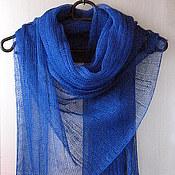 Аксессуары handmade. Livemaster - original item Scarf linen blue (72cmx 200cm). Handmade.