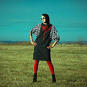 Одежда handmade. Livemaster - original item Huge Dolman Sleeve Dress Black and White striped midi linen dress. Handmade.