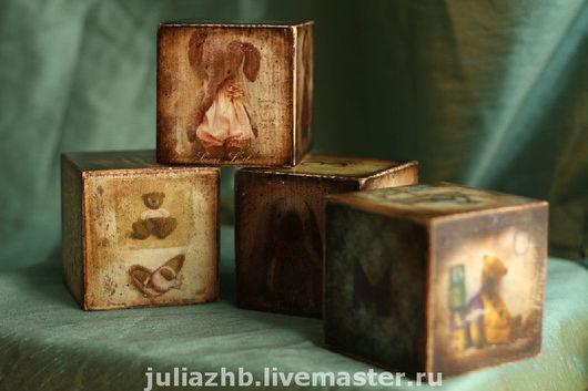 Детская ручной работы. Ярмарка Мастеров - ручная работа. Купить Винтажные кубики. Handmade. Винтажные игрушки, кубики деревянные, акрил