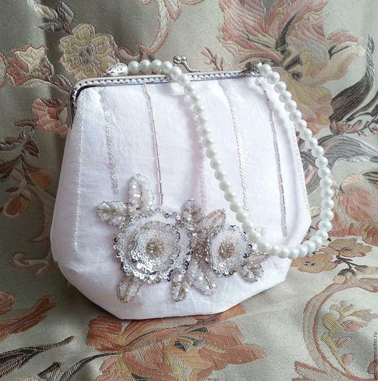 Одежда и аксессуары ручной работы. Ярмарка Мастеров - ручная работа. Купить Свадебная сумочка Dogrose White. Handmade. Белый