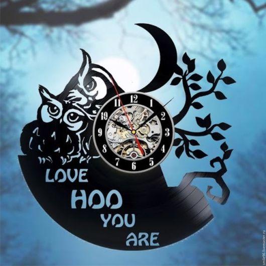 """Часы для дома ручной работы. Ярмарка Мастеров - ручная работа. Купить Часы из пластинки """"Совы"""". Handmade. Комбинированный, совы, часы"""