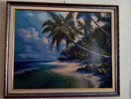Пейзаж ручной работы. Ярмарка Мастеров - ручная работа. Купить морской пейзаж. Handmade. Морской пейзаж, сине-зеленый, лето
