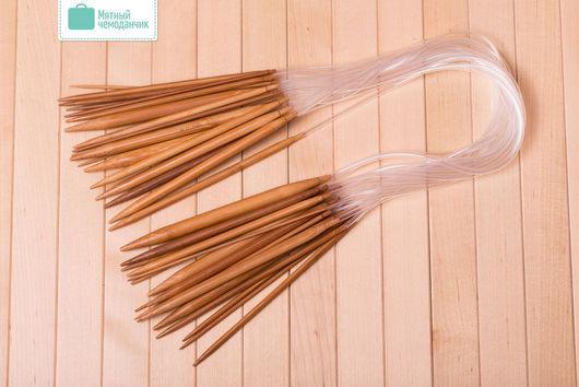 Вязание ручной работы. Ярмарка Мастеров - ручная работа. Купить Спицы круговые бамбуковые набор 18 шт.. Handmade. Бежевый