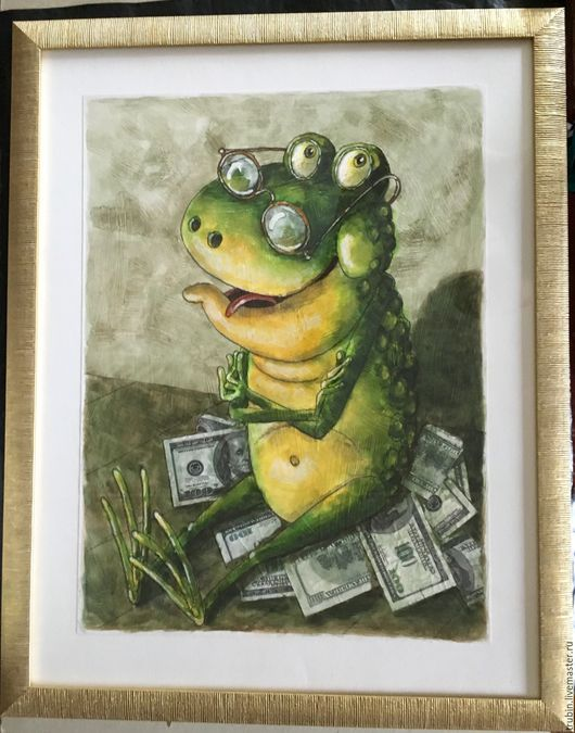 Животные ручной работы. Ярмарка Мастеров - ручная работа. Купить Денежная жаба. Handmade. Зеленый, лягушка в подарок, доллары
