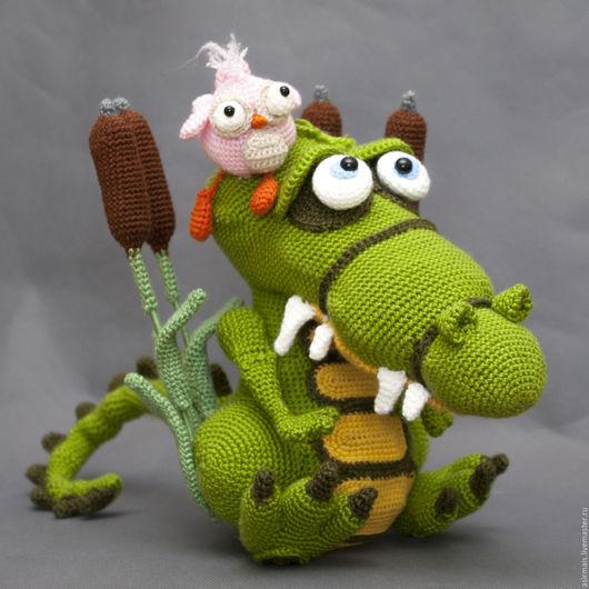 Игрушки животные, ручной работы. Ярмарка Мастеров - ручная работа. Купить Крокодил и птичка тари. Handmade. Ярко-зелёный, крокодил