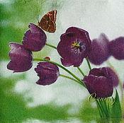Материалы для творчества handmade. Livemaster - original item 9pcs napkins for decoupage butterfly on Tulip flower motif. Handmade.