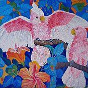 Картины и панно handmade. Livemaster - original item Picture Parrots oil, hardboard. Handmade.