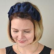 Аксессуары ручной работы. Ярмарка Мастеров - ручная работа соломенная шляпка накладка темно синяя. Handmade.