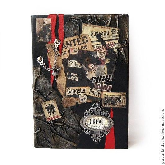 Ежедневники ручной работы. Ярмарка Мастеров - ручная работа. Купить Гангстерский кожаный ежедневник. Handmade. Черный, подарки для женщин