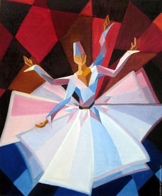 Абстракция ручной работы. Ярмарка Мастеров - ручная работа. Купить Танец дервиша. Handmade. Комбинированный, кубизм, танцор, картина в подарок