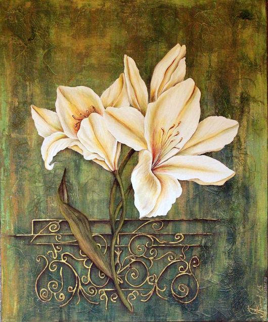 Картины цветов ручной работы. Ярмарка Мастеров - ручная работа. Купить Лилии. картина в объемной технике. Handmade. Зеленый, планшет