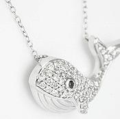 Украшения handmade. Livemaster - original item 14K Diamond Whale Necklace, Diamond Whale Pendant, Nautical Necklace,. Handmade.