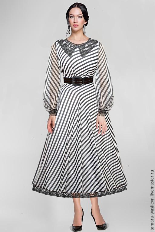 """Шитье ручной работы. Ярмарка Мастеров - ручная работа. Купить Шифон-креп шелковый  D&G """"Юстасия"""". Handmade. Платье"""